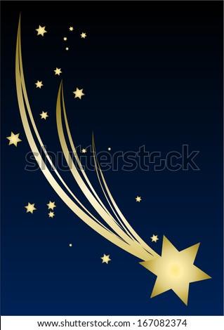 Christmas Star blue sky background  - stock vector