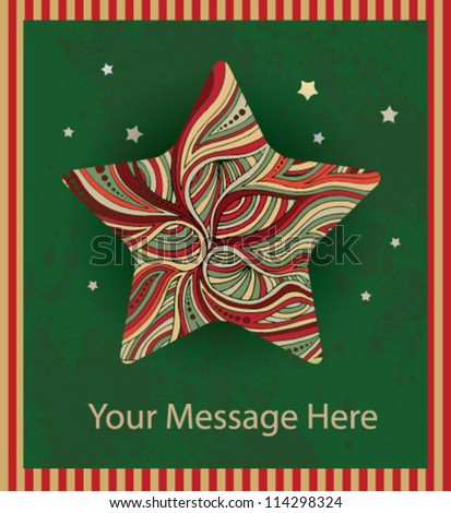 Christmas star card - stock vector
