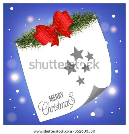 Christmas Star. Christmas tree fir with page curl background on glowing star Blue backgrounds - stock vector