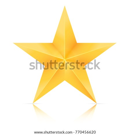 Christmas star, Gold star isolated on white background. Vector illustration.