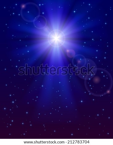 Christmas star in the dark blue night sky, illustration. - stock vector