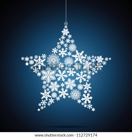 Christmas star, snowflake design background. - stock vector