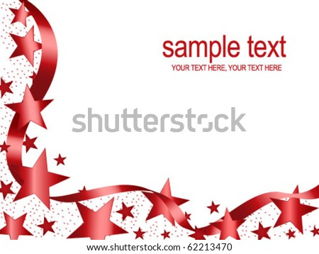 Christmas stars frame and wavy ribbon on white background with copy space - stock vector