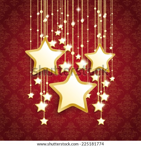 Christmas stars on the red background with ornaments. Eps 10 vector file.