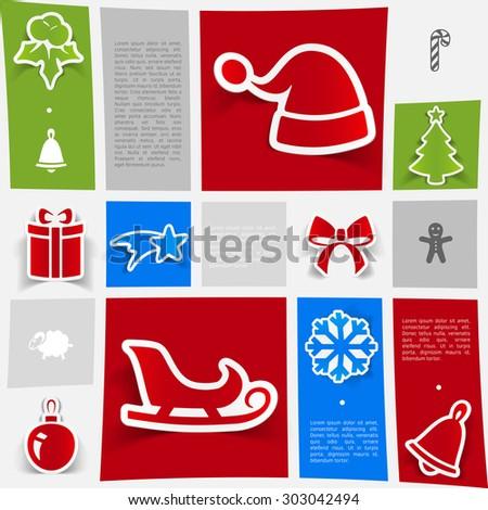 Christmas sticker infographic - stock vector
