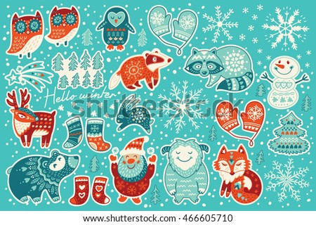 Christmas sticker set with santa claus, happy yeti, lovely deer, tree, funny snowman, badger, raccoon, two owls, cute fox, socks and mittens. Vector illustration