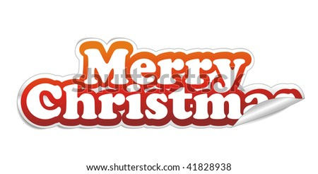 christmas sticker with white background, vector illustarion