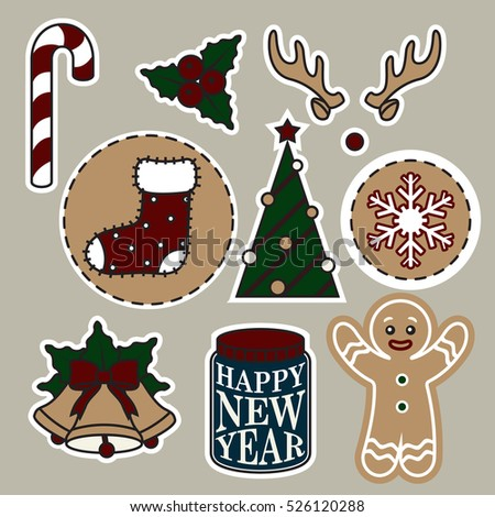 Christmas stickers. bell, sock, candy. tree, cookies, deer horn, happy new year