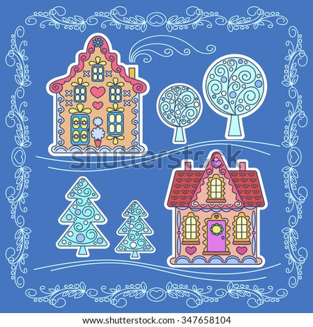 Christmas stickers, element for design, illustration of children, vector illustration, new year, greeting, houses, trees, trees, snow, frame, christmas landscape - stock vector