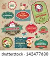Christmas stickers, gift tags & sale icon - stock