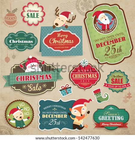 Christmas stickers, gift tags & sale icon - stock vector