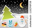 christmas stickers set - stock vector