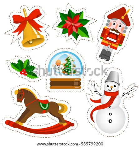Christmas stickers set on white background. Christmas and new year holidays stickers collection in cartoon style.