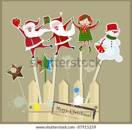 Christmas sticks with Santa, snowmen and funny girl - stock vector