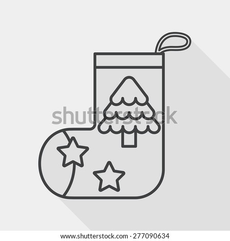 Christmas stocking flat icon with long shadow, line icon - stock vector