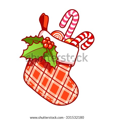 Christmas stocking with candy on white background. Vector clip-art illustration. - stock vector