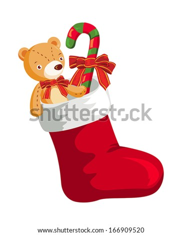 Christmas stocking with gifts - stock vector