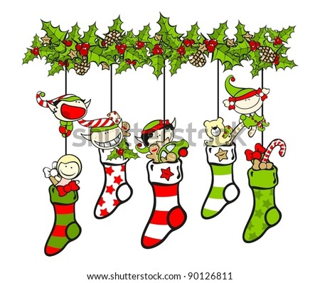 Christmas stockings filled with presents and elves - stock vector