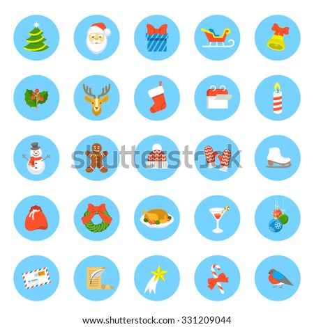 Christmas symbols flat vector round icons set. Winter holiday season conceptual design elements. Kids vacation fun and celebration colorful illustration for website, mobile apps, infographics