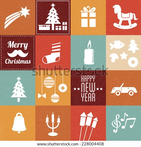 Christmas symbols & icons in vintage colors - set 2 - stock vector