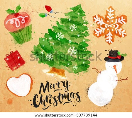Christmas symbols lettering Merry Christmas with cupcake, Christmas tree, gift, cookie, snowman, garland, snowflake drawing in vintage style on kraft paper - stock vector