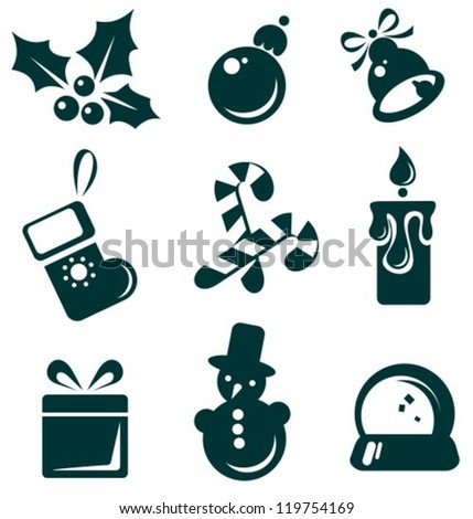 Christmas symbols set isolated on a white background.