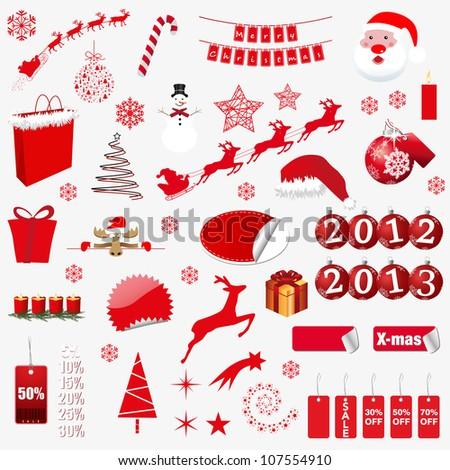 christmas symbols. vector illustration - stock vector