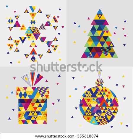 Christmas  symbols  with geometric pattern. Vector Illustration. - stock vector