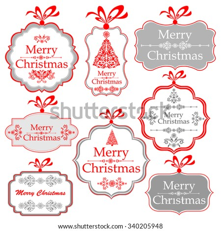 Christmas Tag. Collection of Christmas design elements isolated on White background. Vector illustration - stock vector