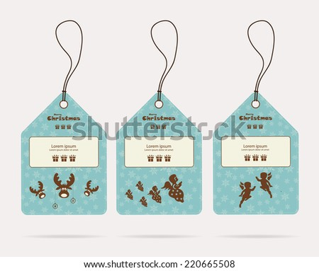 Christmas tags with deer, angel, vector, illustration