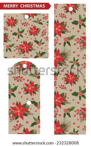 Christmas tags with red poinsettia , holly pattern.Vintage background .For Backdrop,background,fabric,Wallpaper.Christmas,new year .Vector set - stock vector