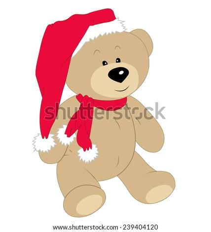 Christmas teddy bear on the white background - stock vector