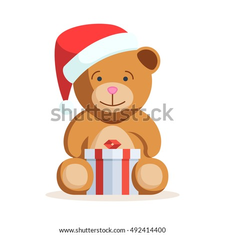 Christmas Teddy bear with gift box. Vector illustration isolated on white background