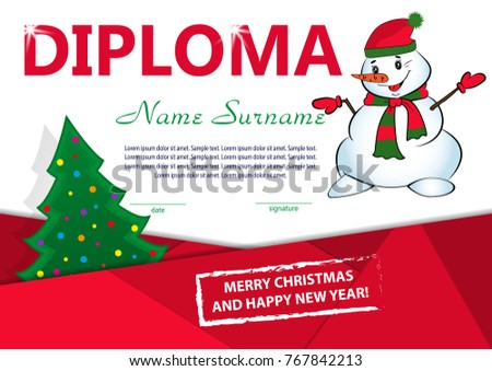 Christmas template diploma certificate new year stock vector hd christmas template diploma or certificate new year reward with christmas tree and snowman vector yelopaper Image collections