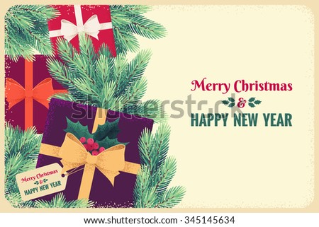 Christmas template with colorful gift boxes, ribbons, bows, fir branches, holly berries and leaves. Top view. Retro vector illustration. Place for text. Invitation, poster, flyer, gift certificate - stock vector