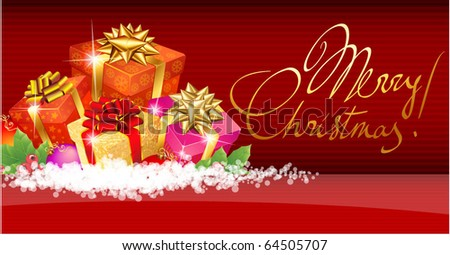 Christmas template with shining gift boxes. Vector background. - stock vector