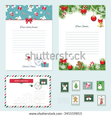 Christmas templates set letter santa claus stock photo photo christmas templates set letter from santa claus letter to santa envelope postage spiritdancerdesigns Image collections