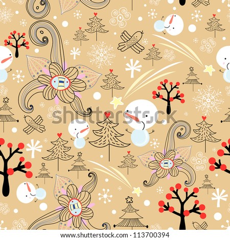 Christmas texture with trees and snowmen