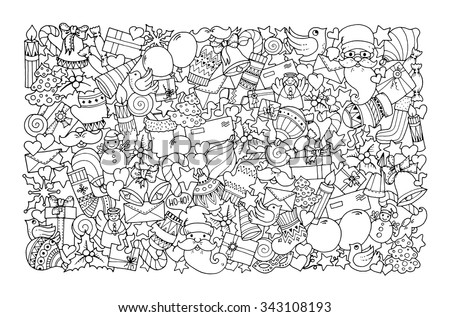 Christmas theme. Doodle background with balloon, bells, sweets, Christmas socks, gift, mittens, envelope, letter, tree, star, candle, bird, snowman, ball, bow, heart and Santa Claus. Ethnic ornaments.
