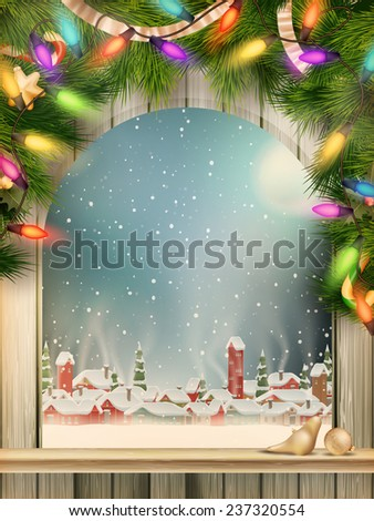 Christmas Theme - Window with a kind on winter village. EPS 10 vector file included - stock vector