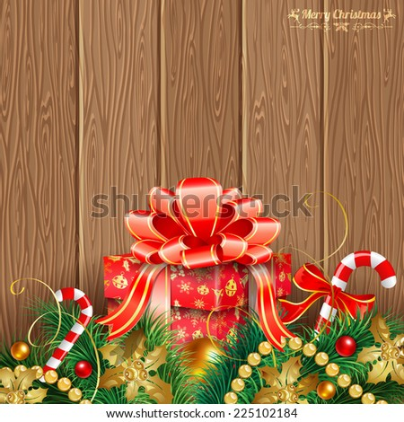 Christmas Theme with Wooden Boards, Gift, Fir Branches, Gold Streamer and Candy, vector background. - stock vector