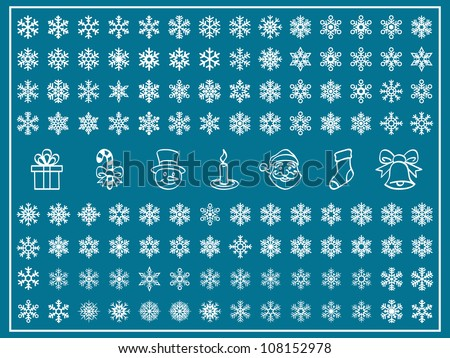 Christmas Themes; snowflakes and christmas icon; new year; winter Vector Set; shape - stock vector