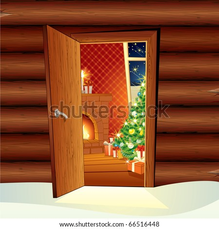 Christmas Time - vector illustration of festive home interrior from opened door - cartoon image for your design