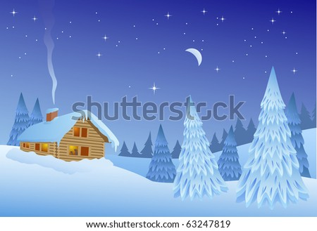 Christmas time winter landscape - stock vector