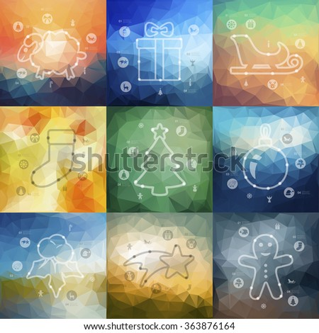 Christmas timeline infographics with blurred background - stock vector