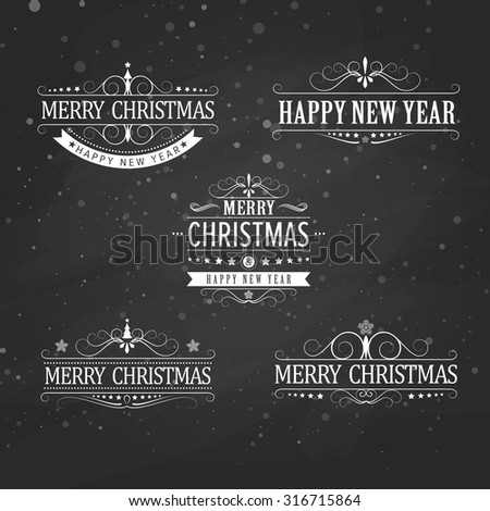 Christmas title. Calligraphic And Typographic Background. excellent vector illustration, EPS 10 - stock vector