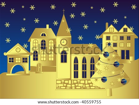 Christmas town square, vector - stock vector