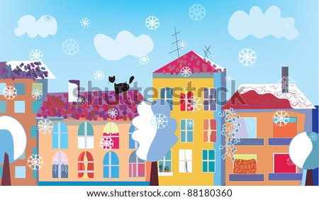 Christmas town street in winter with snow - stock vector