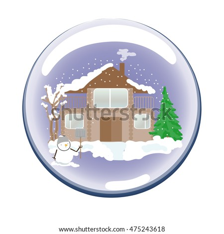 Christmas toy glass ball with a house, tree and snowman.