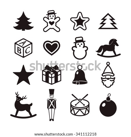 christmas toys black and white set - stock vector